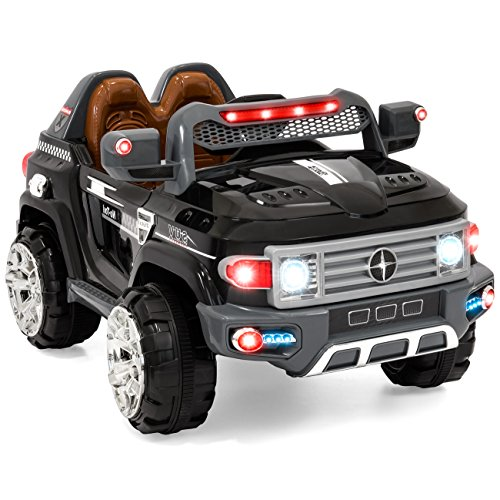 Remote Powered Rc - Best Choice Products 12V Kids Battery Powered RC Remote Control Truck SUV Ride-On Car w/ 2 Speeds, LED Lights, MP3, AUX Cord - Black