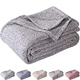 Kawahome Original Woven Blanket (King Size, Grey and White) Cozy Reversible Gradient Printed Blanket with Classic Pattern Soft Lightweight Large Heather Blanket for Bed or Couch/Sofa, Easy Care