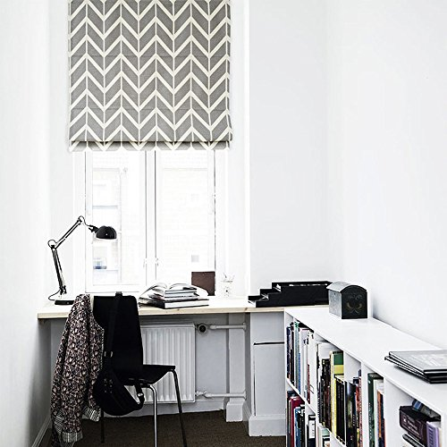 Quick Fix Washable Roman Window Shades Flat Fold , Geometric Color Pattern (36W x 63H, Grey)