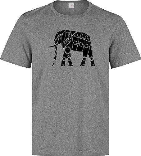 Elefant ethnisch talisman t shirt herren baumwoll grau
