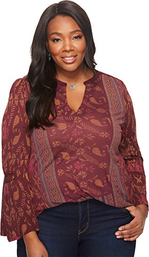 Lucky Brand Women's Plus Size Mix Print Peasant Top, Berry Multi, 2X