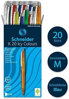 Schneider K20 Icy Colours - Bolígrafo tinta azul, pack de 20 unidades, colores surtidos: Amazon.es: Oficina y papelería