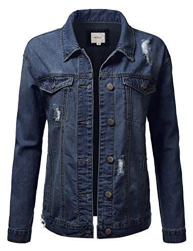 DRESSIS Womens Destroyed Vintage Denim Button Down Boyfriend Fit Jacket