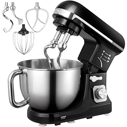 Stand Mixer, Aicok 5-Quart 500-Watt 6-Speed Dough Mixer with Stainless Steel Bowl, Tilt-Head Food Mixer, Kitchen Electric Mixer with Double Dough Hooks, Whisk, Beater, Pouring Shield, Black (Best Dough Mixer For Roti)