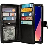NEXTKIN LG V30 V30+ Plus Case, Leather Dual Wallet Folio TPU Cover, 2 Large Pockets Double flap, Multi Card Slots Snap Button Strap For LG V30 V30+ Plus H930 VS996 H931 H932 US998 6 inch - Black