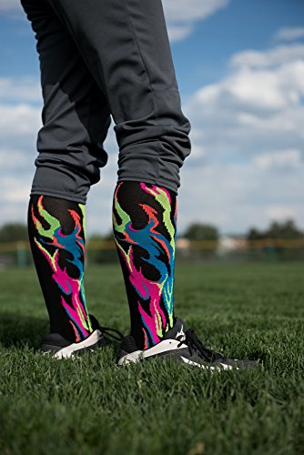 MadSportsStuff Flame Socks Athletic Over the Calf Socks (Royal/Red/Gold, Medium) by MadSportsStuff (Image #4)
