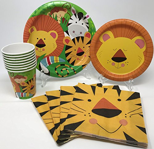 Jungle Safari Animal Friends Birthday Party Supplies Pack for 8 Guests Including Lunch Plates, Dessert Plates, Lunch Napkins, (Safari Lunch)