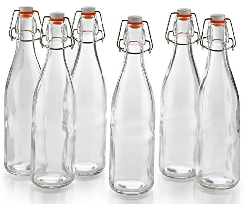 6 Pack Clear Glass Bottles 16 OZ With Easy Swing Top Caps: Use For Home Brewing, Wine Fermenters & Kombucha Tea Bottling – By Katzco