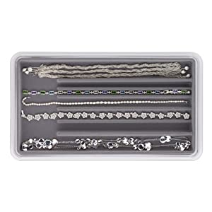 Neatnix Stax Jewelry Necklace Organizer Tray, Pearl Grey