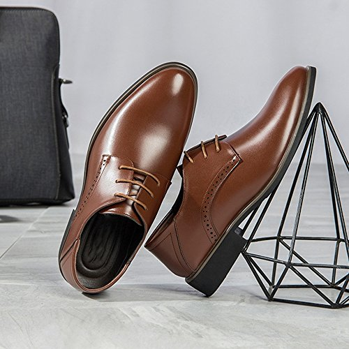 Easy Go Shopping Leather Shoes, Men's Leather Shoes Business PU Smooth Lace up Oxfords (Breathable Hole Optional) Brown