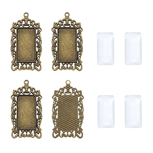 Pandahall 6Sets Antique Bronze Tibetan Style Alloy Rectangle Pendant Cabochon Bezel Tray Blank Setting for DIY Pendant Makings with Clear Glass Cabochons Tray: 38x19mm/1.5x0.75inch
