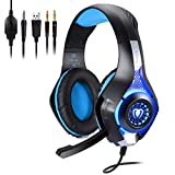 Megadream 3.5mm Wired Video Over Ear Gaming Headset with Microphone, Volume Control, Leather Earmuff, LED Light, PC Cable Converter for Laptop Tablet, Playstation PS4 Slim Pro, Xbox One S X – Blue