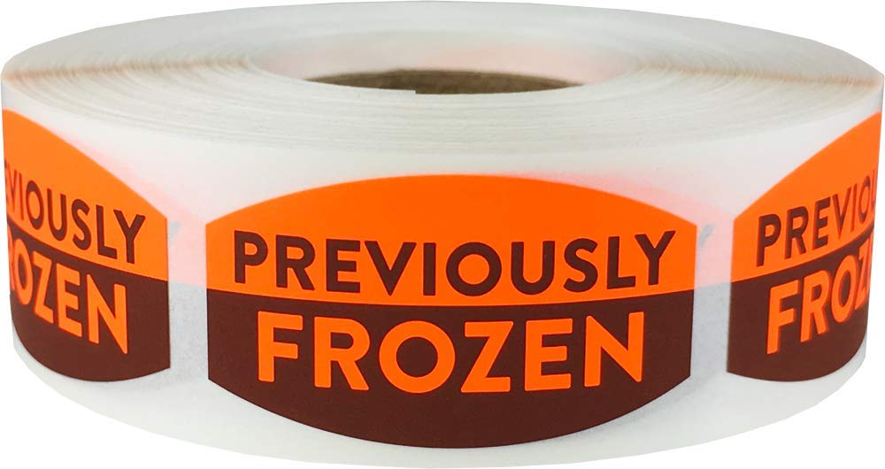 Previously Frozen Grocery Store Food Labels .75 x 1.375 inch Oval Shape 500 Total Adhesive Stickers