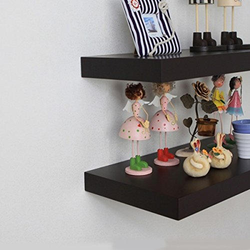 Naiture 48 x 12 x 2 Inch Floating Wall Shelf, Espresso