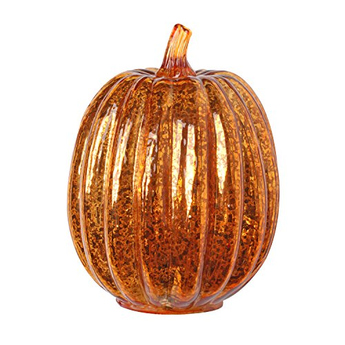 Romingo Mercury Glass Lighted Pumpkin with Timer for Fall Decor, Halloween Lantern, Orange, 7.5 inches by Romingo
