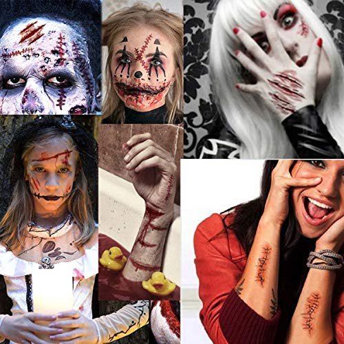 (COKOHAPPY 4 Large Sheets Halloween Temporary Tattoo, Wound Scar Bleeding, Costume Party and Zombies)