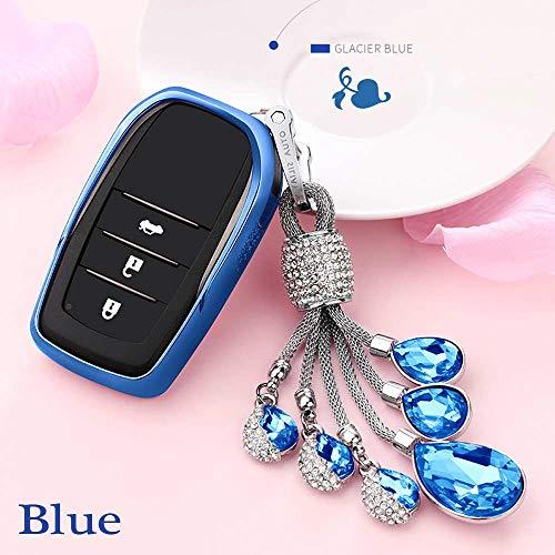 (Auto Key case TPU Soft Cover case for Toyota Highlander Land Cruiser Riez RAV4 Camry Prado Crown Corolla Handmade Waven Keychain Color Name Blue-Crystal)