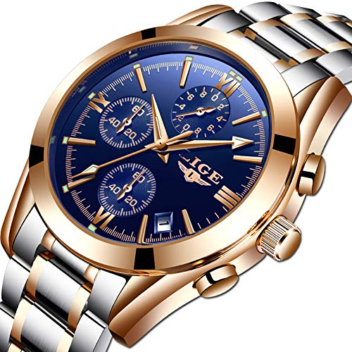 (Mens Watches Stainless Steel Fashion Business Analog Quartz Watch Gents Blue Sports Waterproof Chronograph Round Date Gold Watch)