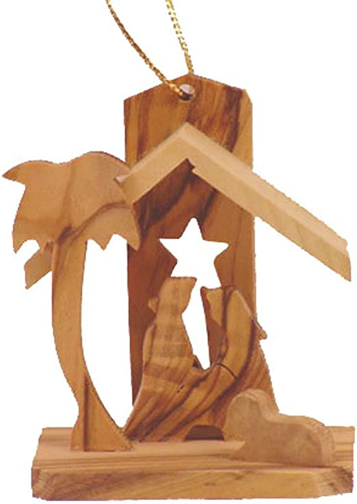 Hand Carved Olive Wood Christmas Ornament Bethlehem Star