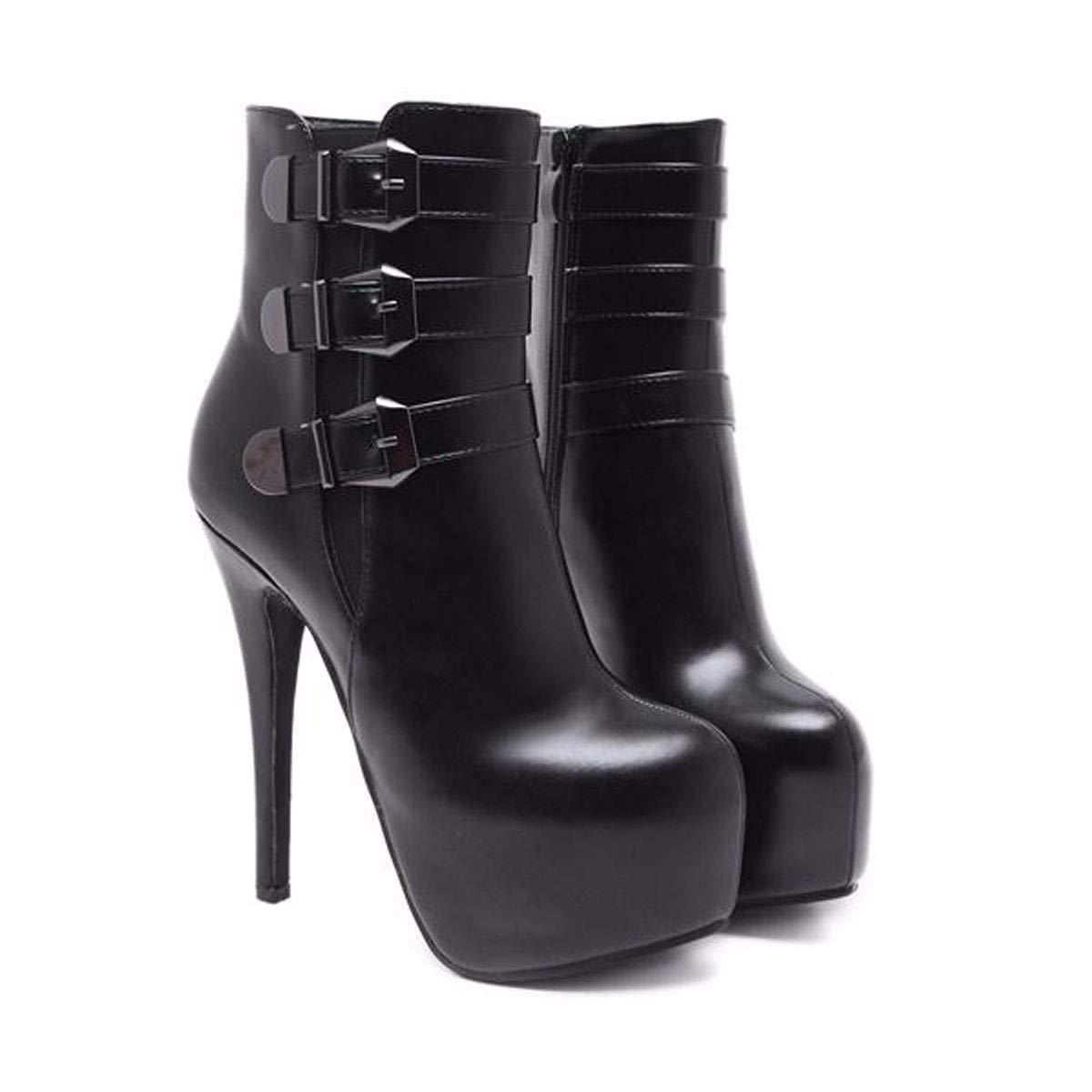 HBDLH Damenschuhe Mode Persönlichkeit Mit 14 cm Hoch Mehrreihiger Metall Gürtel High - Heel Dünne Sohle Runden Kopf Kurze Stiefel.