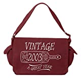 Tenacitee Aged Like a Fine Wine 2003 Maroon Brushed Canvas Messenger Bag