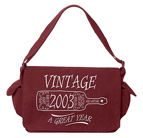 Tenacitee Aged Like a Fine Wine 2003 Maroon Brushed Canvas Messenger Bag by Tenacitee (Image #3)