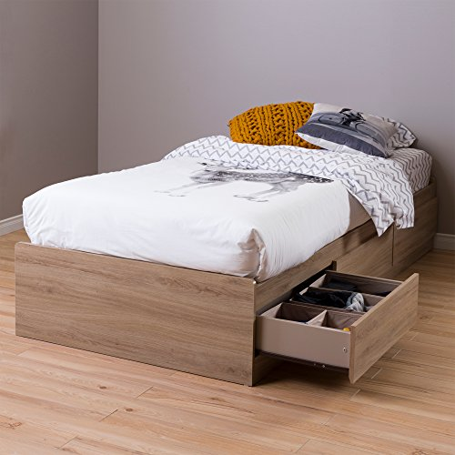 """South Shore 39"""" Fynn Mates Bed with 3 Drawers, Twin, Rustic Oak"""