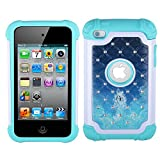 iPod 4 Case, iPod Touch 4 Case, MagicSky [Shock Absorption] Studded Rhinestone Bling Hybrid Dual Layer Armor Defender Protective Case Cover For iPod Touch 4th Generation (Mermaid)