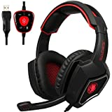 New Updated SADES Spirit Wolf 7.1 Surround Stereo Sound USB Computer Gaming Headset with Microphone,Over-The-Ear Noise Isolating,Breathing LED Light for PC Gamers (Black Red)