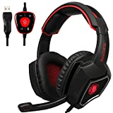 Cheap 2017 New Updated SADES Spirit Wolf 7.1 Surround Stereo Sound USB Computer Gaming Headset with Microphone,Over-the-Ear Noise Isolating,Breathing LED Light For PC Gamers (Black Red)