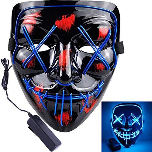 Halloween Led Mask Light Up Purge Mask for Halloween Costume Cosplay Blue Purge Mask