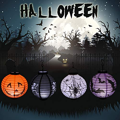 4 Pack Halloween Outdoor Decorative Paper Lantern with LED Lights for Party Supplies - Pumpkin, Spider, bat, Skeleton Lantern - Size 7.87