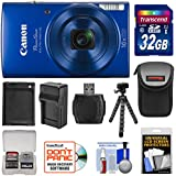 Canon PowerShot Elph 190 is Wi-Fi Digital Camera (Blue) 32GB Card + Case + Battery & Charger + Flex Tripod + Kit