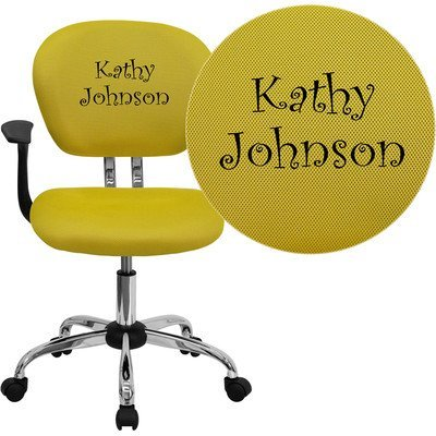 Mid-Back Mesh Embroidered Task Chair Finish: Yellow, Arm Option: Included (Mesh Back Embroidered Mid)