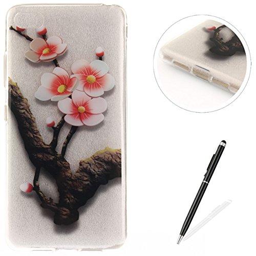 Caja Transparente de Lenovo S90T, MAGQI Flexible y Durable del gel de TPU a Prueba de Choques [Anti-Rasguñe] Tope de la Absorción y, [Pluma Negra Libre de la Aguja]-Mandala negro Plum Tree