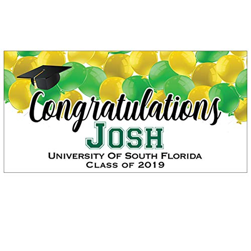 Green and Yellow Personalized Graduation Party Banner, School Spirit Personalized Graduation Party Banner, Congratulations Class of 2019 Party Banner, Custom Personalized Graduation Party Decoration]()