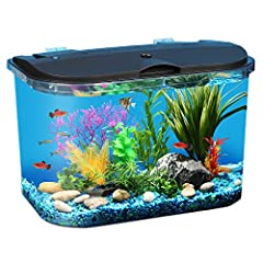 PanaView 5-Gallon Fish Tank includes energy-efficient LED lighting with 7 color choices plus 4 transitioning and color combinations you can choose depending on the time of day or to enhance your viewing pleasure along with internal power filt...