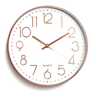 Wall Clock Metal Frame Glass Cover Non-ticking Number Quartz Wall Clock 12inch Modern Quartz Design Decorative Indoor/Kitchen