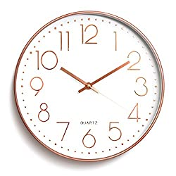 Wall Clock Battery Operated Silent Non-ticking Wall Clock 12inch Modern Quartz Design Decorative Indoor/Kitchen Rose Golden