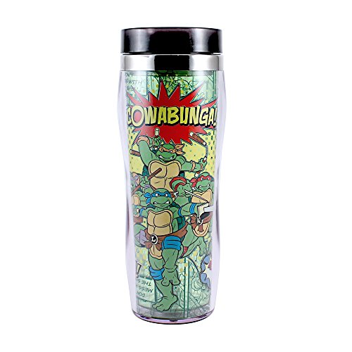 Silver Buffalo NT0470 Nickelodeon Teenage Mutant Ninja Turtles Cowabunga Curved Plastic Travel Tumbler, 16-Ounces (Turtle Coffee Ninja Mug)