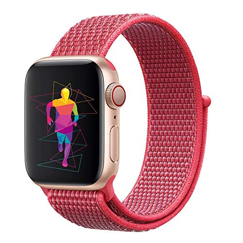 INTENY Sport Band Compatible with Apple Watch 38mm, Soft Lightweight Breathable Nylon Sport Loop, Strap Replacement for iWatch Series 3, Series 2, Series 1 (Hibiscus, 38mm)