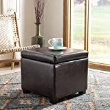 Safavieh Hudson Collection Ryder Leather Square Flip Top Ottoman, Brown