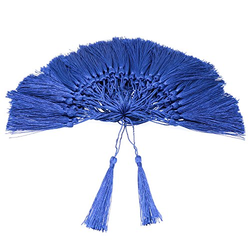 VAPKER 100 Pieces Blue Tassels 13cm/5-Inch Silky Handmade Soft Tassels Floss Bookmark Tassels with 2-Inch Cord Loop for Jewelry Making, DIY Projects, Bookmarks