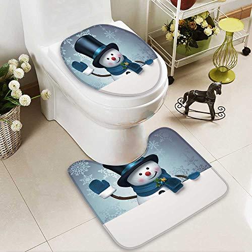 aolankaili 2 Piece Bathroom Mat Set Snowman Silver Banner Personalized Durable