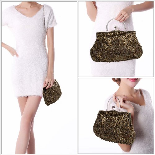 Evening Clutch Satin Kissing Design BMC Lock Frame Olive Beaded Metal Interior Sequin qvwxzpZ