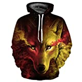 Samefar Womens Men Realistic 3d Digital Print Pullover Hoodie Hooded Sweatshirt Small/Medium Yellow Wolf
