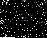 Dozen, 20 x 20 Inch Napkins, Custom Print - Majestic Happy New Year, Silver on Black