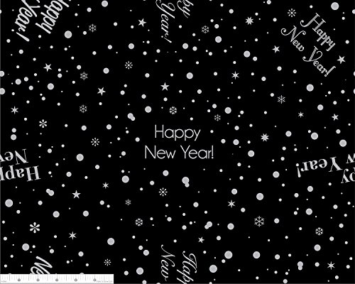 Dozen, 20 x 20 Inch Napkins, Custom Print - Majestic Happy New Year, Silver on Black by Bright Settings