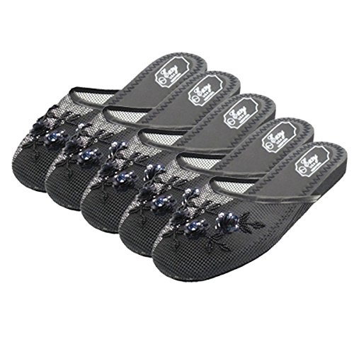 USA Chinese Women's Black Easy 5pr Mesh black Slippers ZwtgqSdq