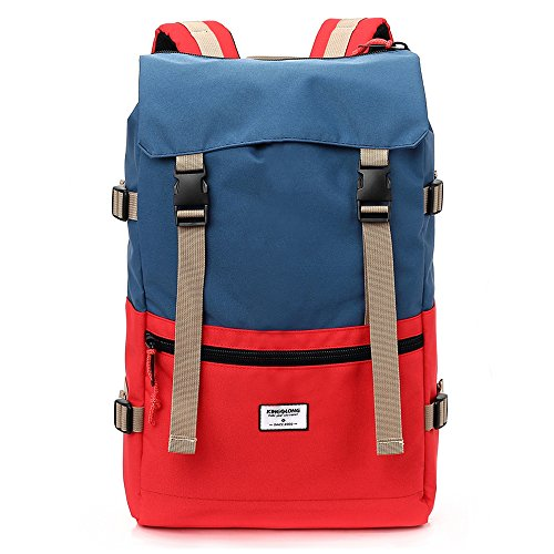 KINGSLONG Outdoor Climbing Mountain Backpack Durable & Waterproof Camping Travel Hiking Daypack Bag with Red Lucky Rope Zipper